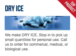 AllGas manufactures dry ice at it's Monticello & Goshen stores.